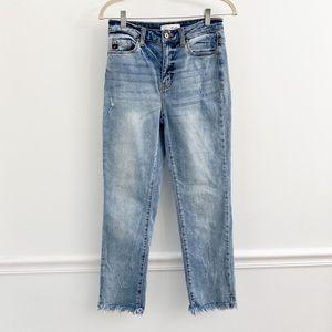 KanCan High Rise Fray Hem Mom Jeans